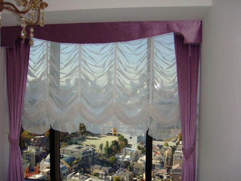 ピンクのカーテン オーストリアンシェード ベルベット