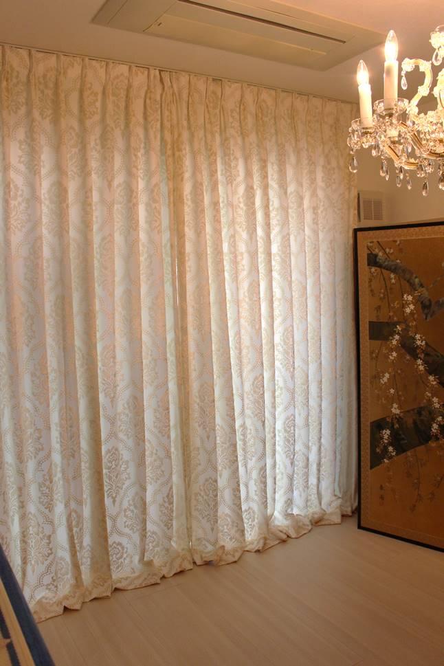 ダマスク 丈の長いカーテン イタリア製カーテン