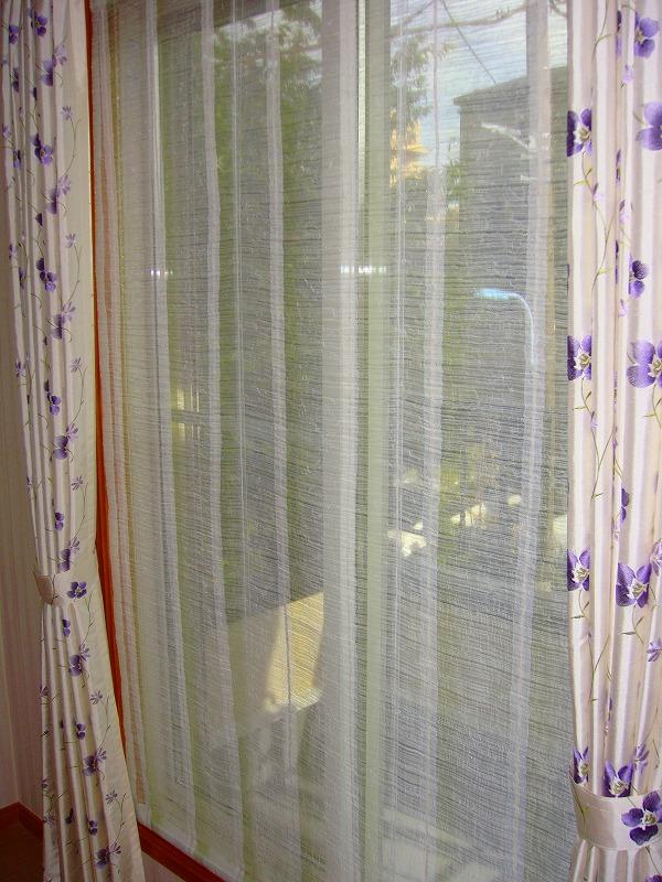 刺繍カーテン 小花柄 パープル
