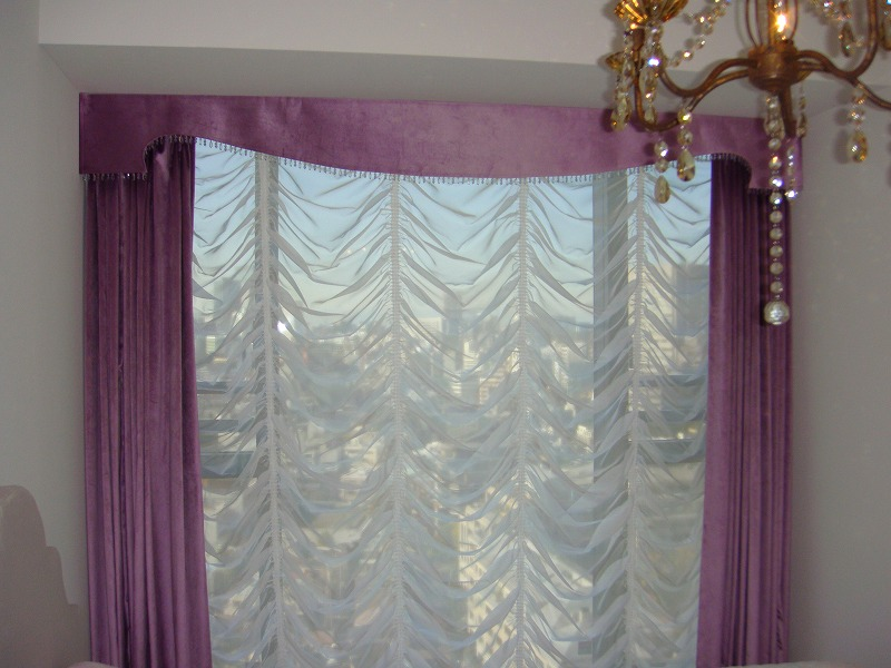 オーストリアンシェード ピンクのカーテン ベルベット