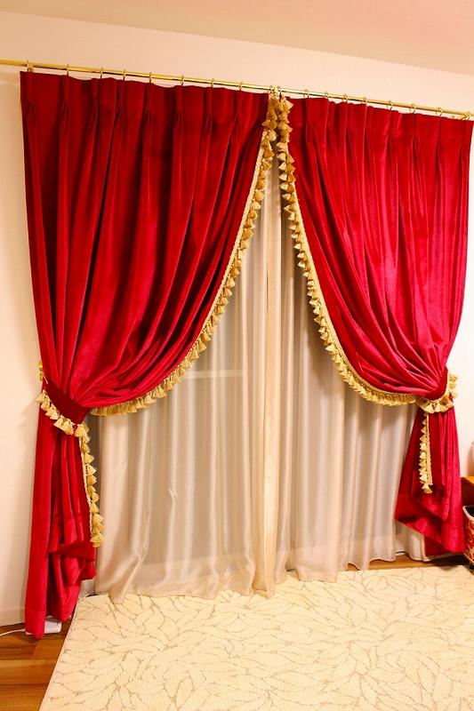 オーダーカーテン ヨーロッパのカーテン 真紅のベルベット
