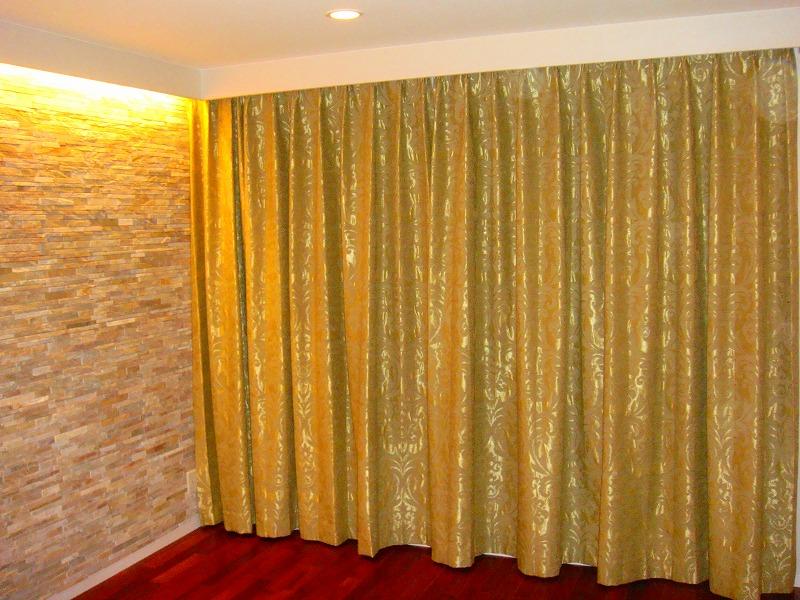 ゴールド ダマスクカーテン クラッシック