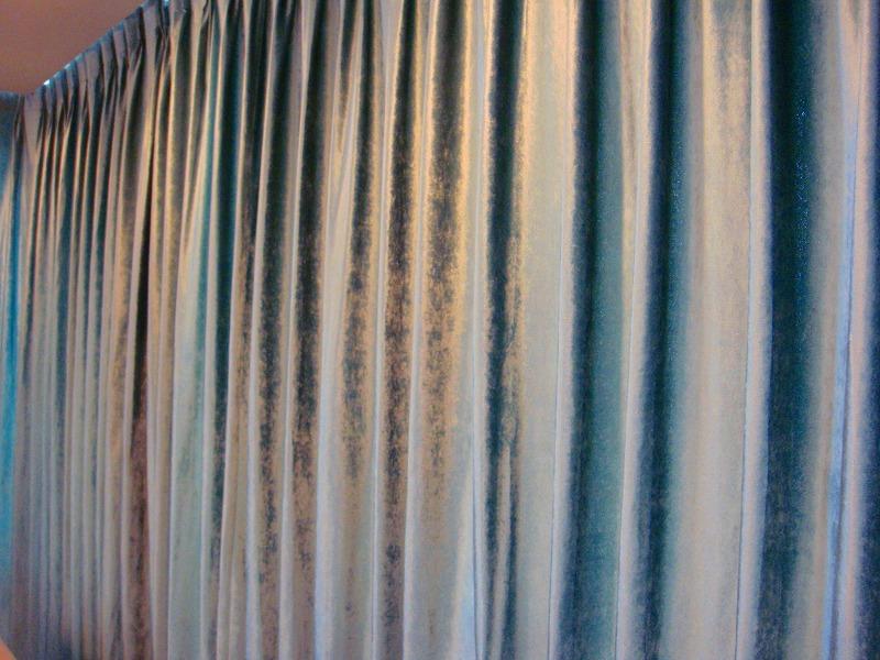 ブルー ベルベット生地  高層マンションカーテン