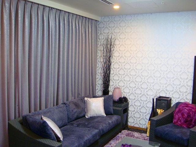 クロコダイル柄 グレー ドイツのカーテン