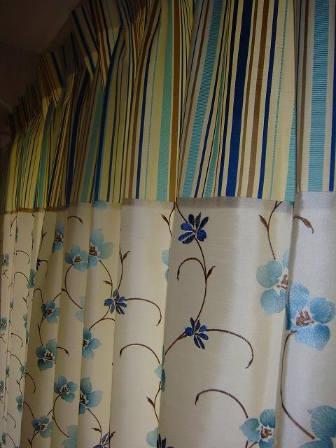 切り替えカーテン 花柄 ストライプ