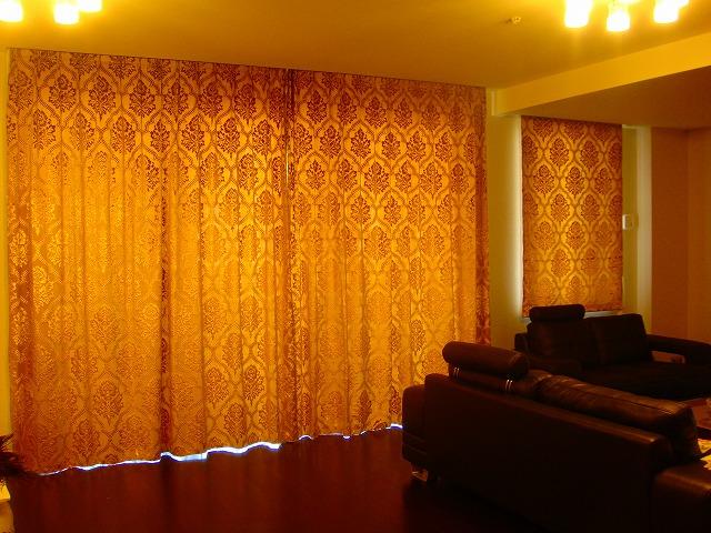 ゴールドのカーテン ダマスク クラシック