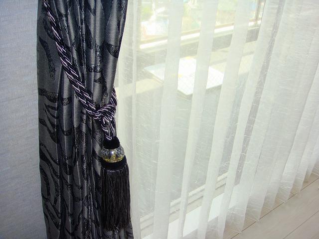 黒のタッセル モダン 男性好みのカーテン