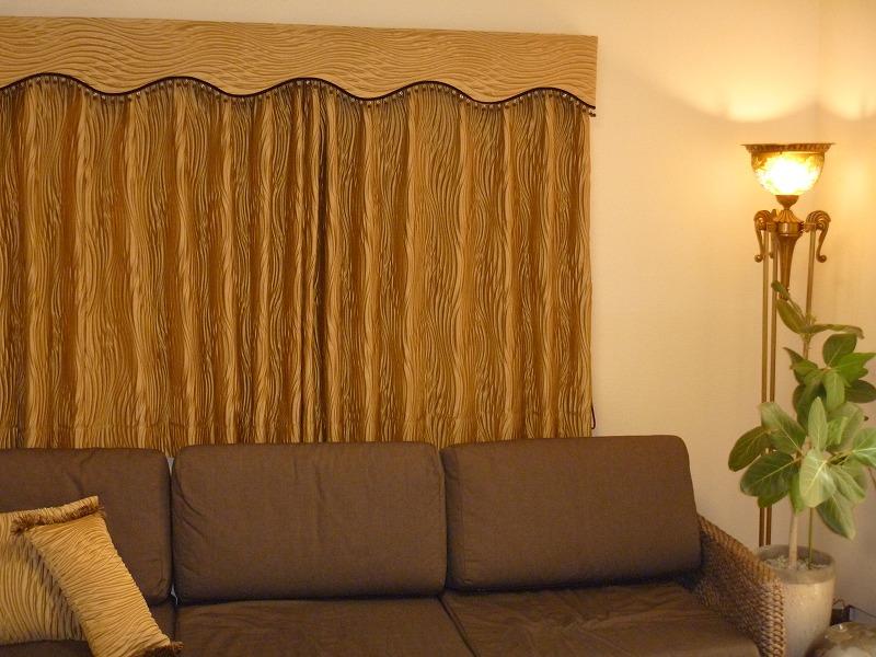 ゴールドのカーテン 金運アップ イギリス製カーテン