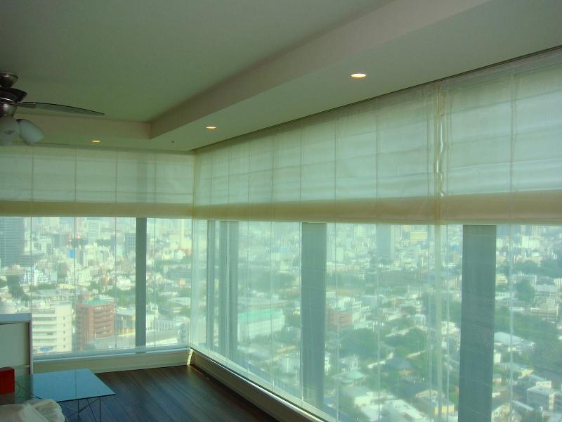 プレーンシェード 高層マンション 大きい窓