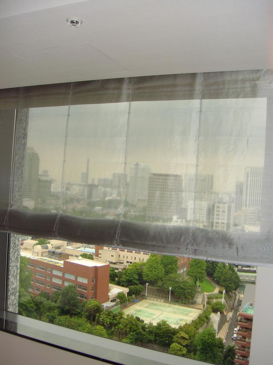 タワーマンション 大きい窓 シェード