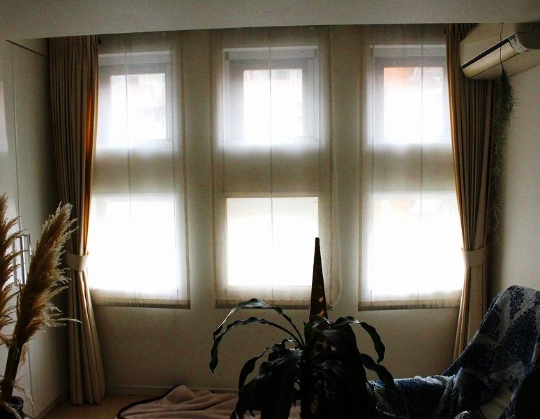 オーダーカーテン レースフロント 連窓のカーテン