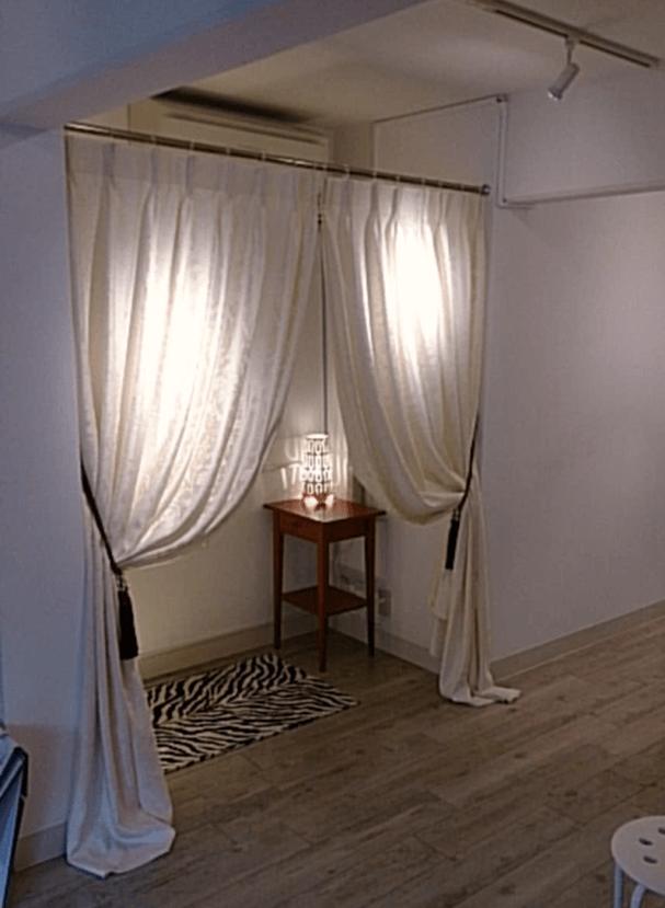 カーテン長め丈 試着室のカーテン 輸入カーテン